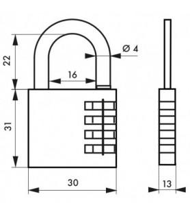 Kłódka szyfrowa VENUS 30 mm, szyfr zmienny | SP