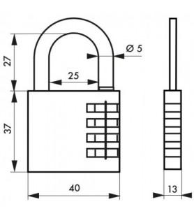 Kłódka szyfrowa VENUS 40 mm, szyfr zmienny | SP