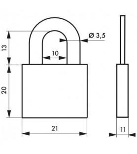 Kłódka bagażowa na klucz RUCK 20 mm Thirard