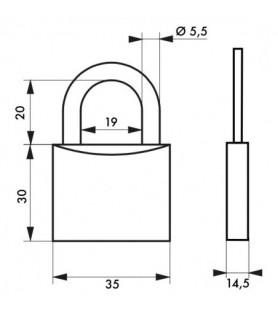 Kłódka na klucz TYPE 1 35 mm Thirard