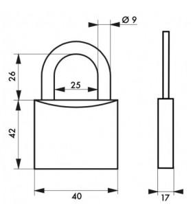 Rysunek techniczny - Komplet 2 kłódek TYPE 1 40 mm MASTER KEY | 4 klucze Thirard