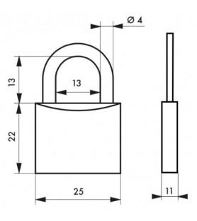 Kłódka mosiężna TYPE 1 25 mm Thirard