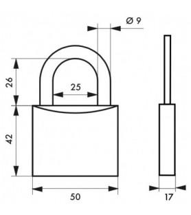 Kłódka mosiężna TYPE 1 50 mm Thirard