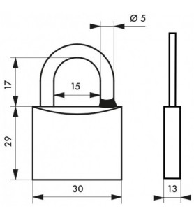 Kłódka na klucz chrom TYPE 1 30 mm Thirard