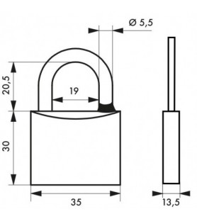 Kłódka na klucz chrom TYPE 1 35 mm Thirard
