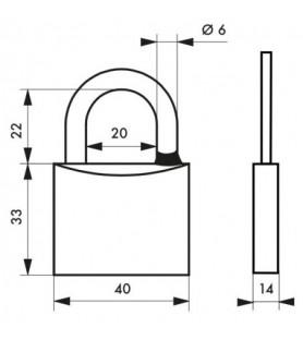 Kłódka na klucz chrom TYPE 1 40 mm Thirard