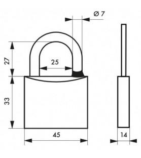 Kłódka na klucz chrom TYPE 1 45 mm Thirard