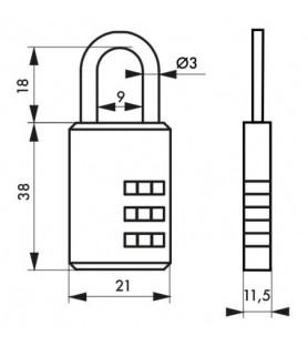 2 Kłódki COMPACT 02 21 mm szyfr zmienny Thirard