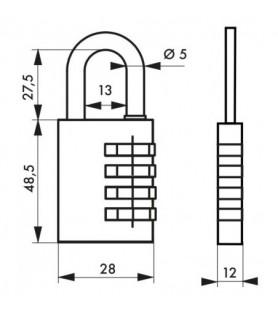 Kłódka szyfrowa 258 wewnętrzna 28 mm Thirard