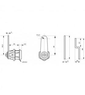 Zamek skrzynkowy + dwie krzywki, grubość max. 24 mm | Thirard