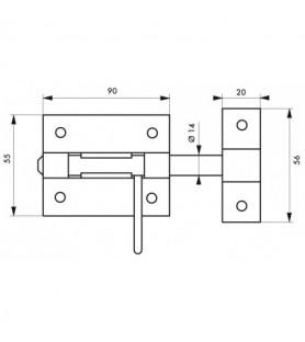 Zasuwka BOX rygiel Ø 14 mm