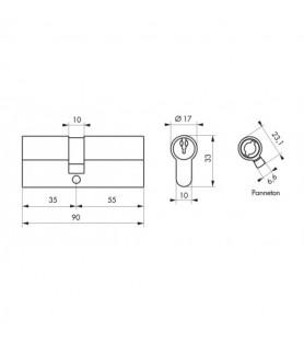 Wkładka PROFILE ECO 35 x 55 mm mosiądz 3 klucze   Thirard