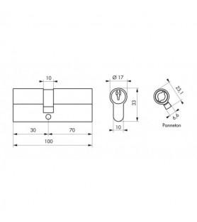 Wkładka PROFILE ECO 30 x 70 mm nikiel 3 klucze   Thirard