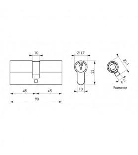 Wkładka PROFILE ECO 45 x 45 mm mosiądz 3 klucze   Thirard