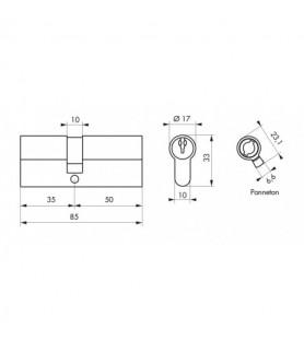 Wkładka PROFILE ECO 35 x 50 mm nikiel 3 klucze   Thirard