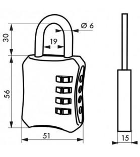 Kłódka szyfrowa BAGGY 50 mm...